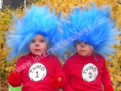 These adorable kids wear our LC TROLL1 costume wig to go with their Thing 1  and Thing 2 costumes. b2c5a5deb012